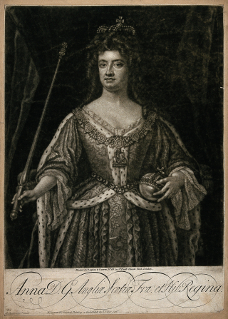 Queen_Anne _holding_an_orb_and_a_sceptre._Wellcome_V0048358